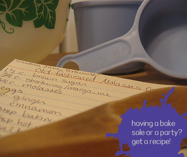 having a bake sale or a party? get a recipe!